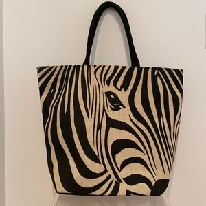 YAMAMAY Zebra Large Beach Tote Shoulder Bag